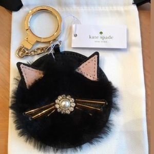 Kate spade NWT key fob black cat pouf key chain